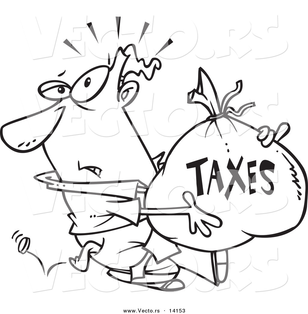 1024x1044 Vector Of A Cartoon Businessman Being Hit With Extra Taxes