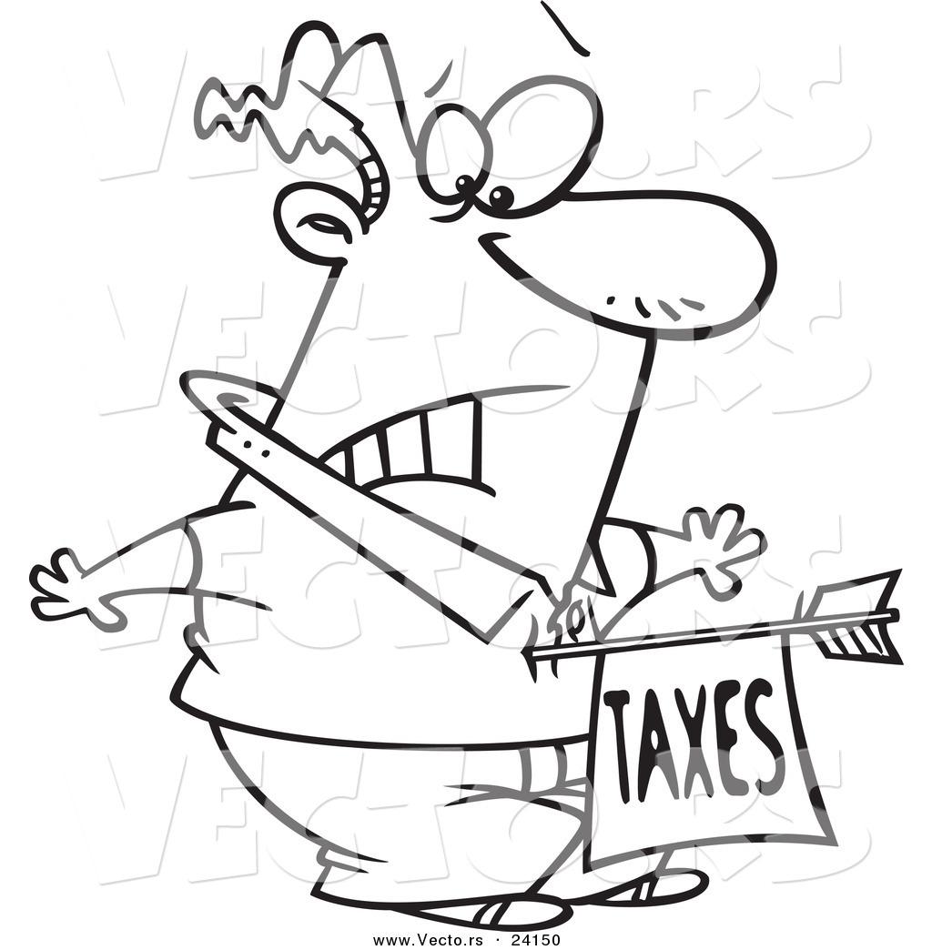 1024x1044 Vector Of A Cartoon Man Being Struck With A Taxes Arrow