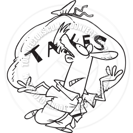 460x460 Cartoon Man Carrying Tax Burden (Black And White Line Art) By Ron