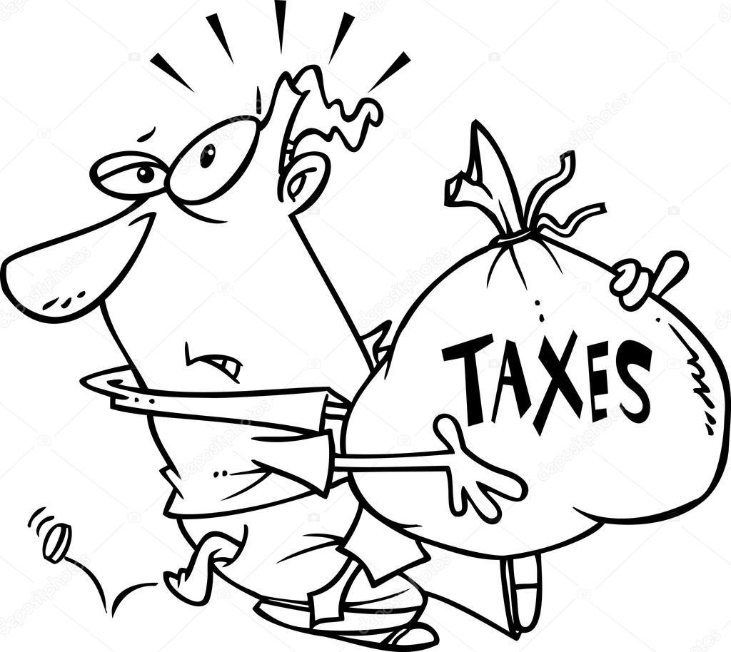 1024x914 Cartoon Man With Tax Burden Stock Vector Ronleishman