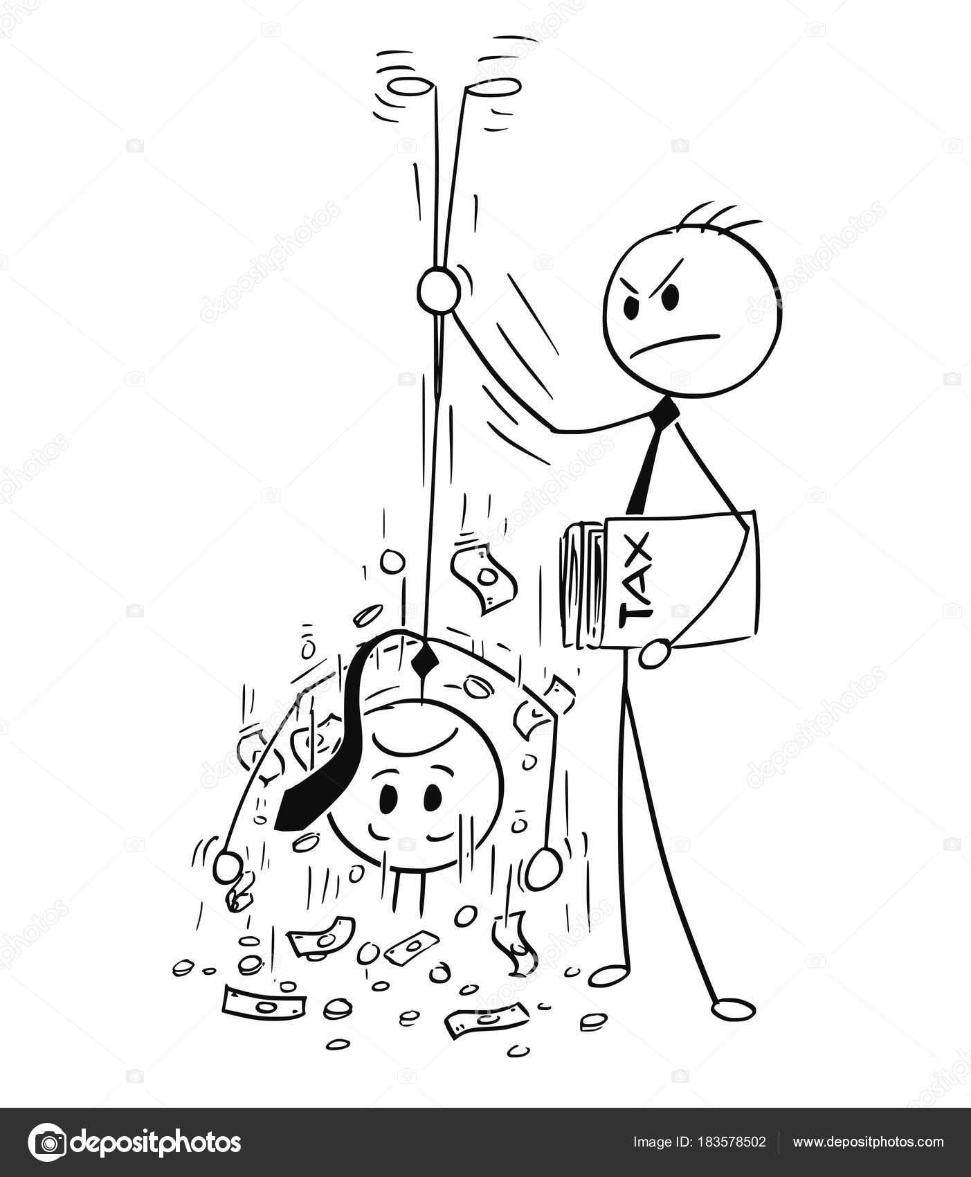 1403x1700 Cartoon Of Taxation Clerk Shaking Out Money For Tax