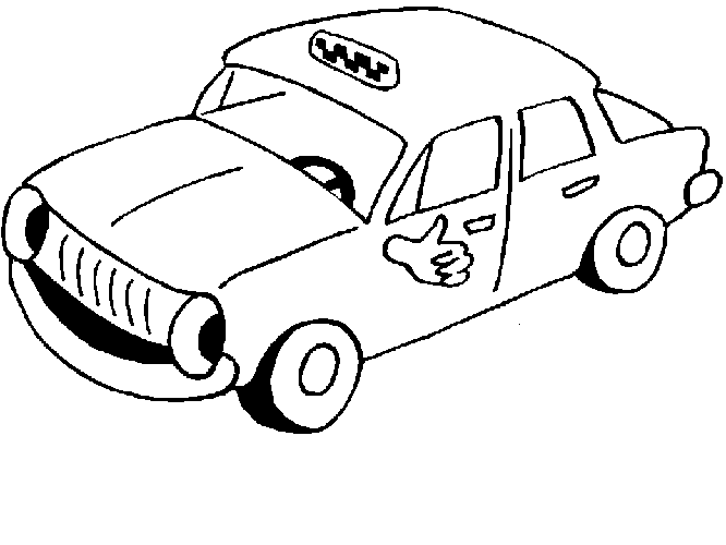 666x500 Coloring Page Of Taxi With Thumb For Kids