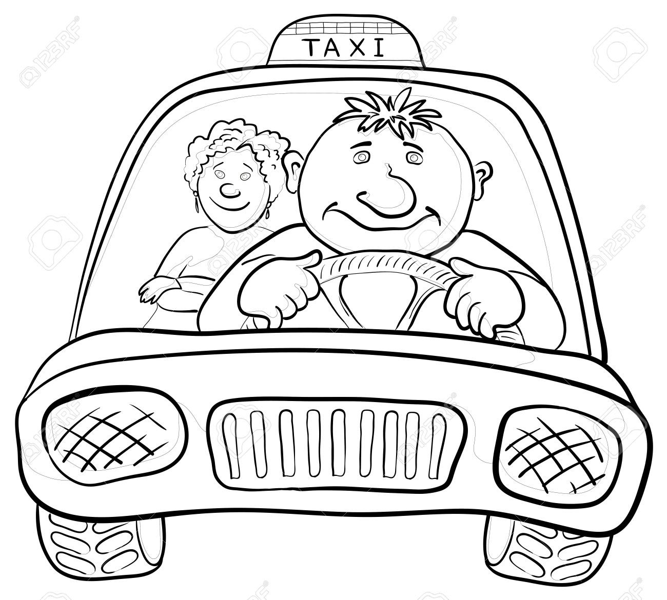 1300x1170 Cartoon, Car Taxi With A Man Driver And Passenger A Woman
