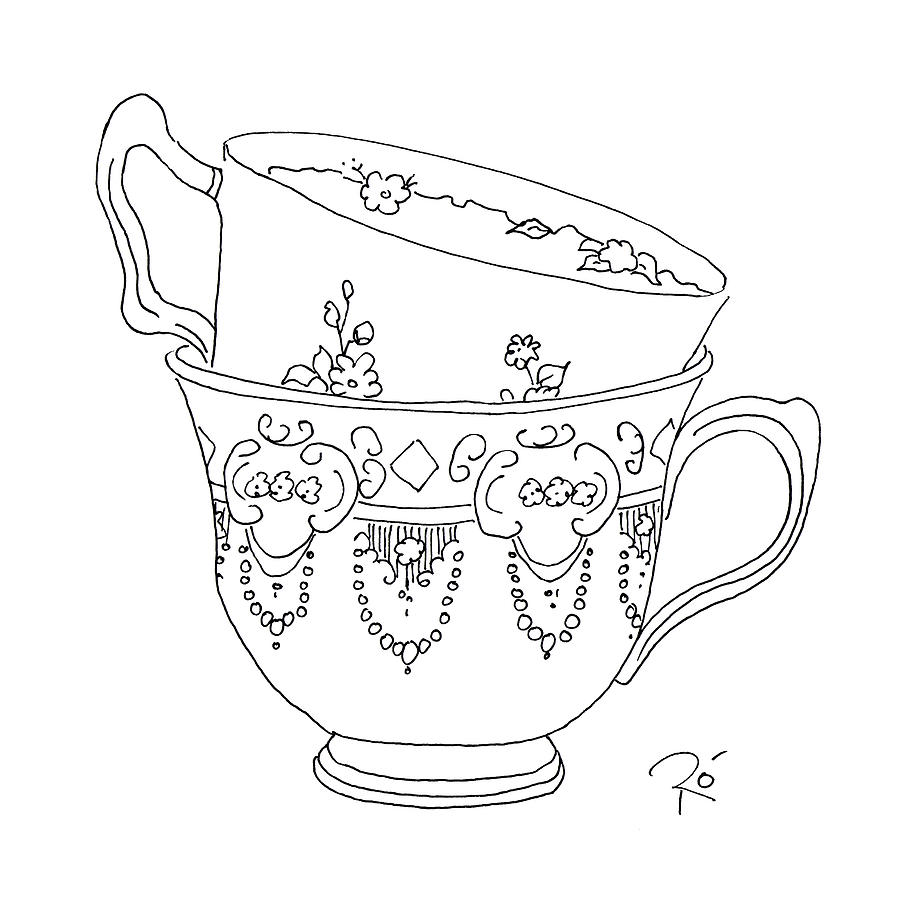 900x900 Teacup Love Drawing By Roisin O Farrell
