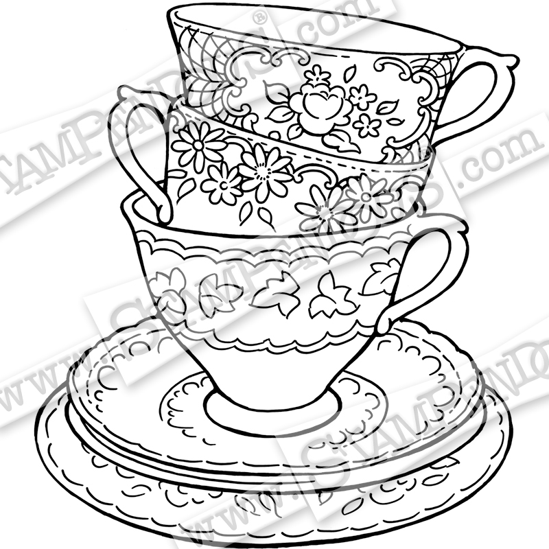 800x800 Teacup Trio Rubber Stamp