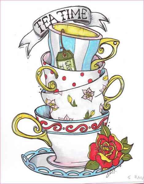 469x602 Alice In Wonderland Teacup Drawing