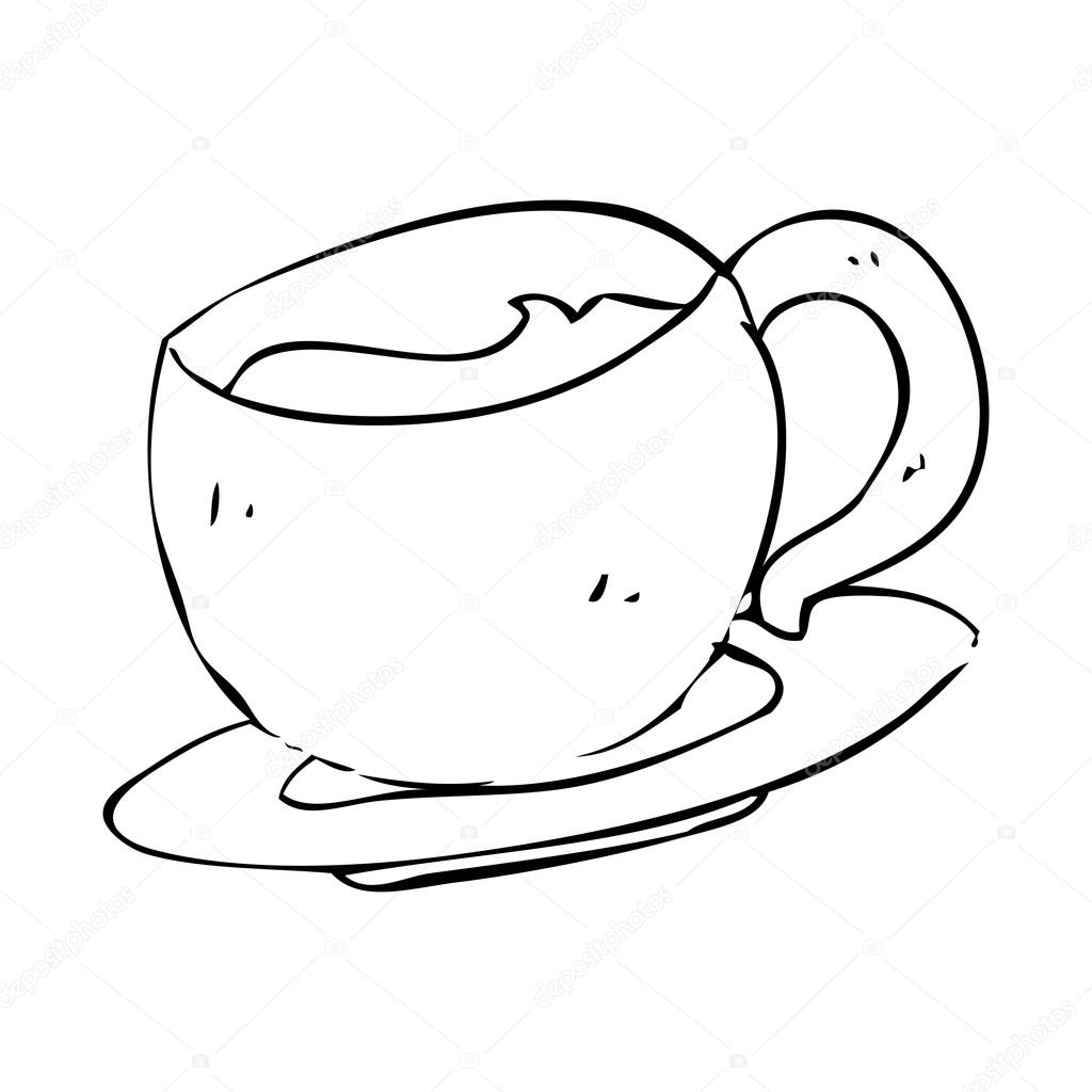 1024x1024 Sketchy Teacup Drawing Stock Vector Lineartestpilot