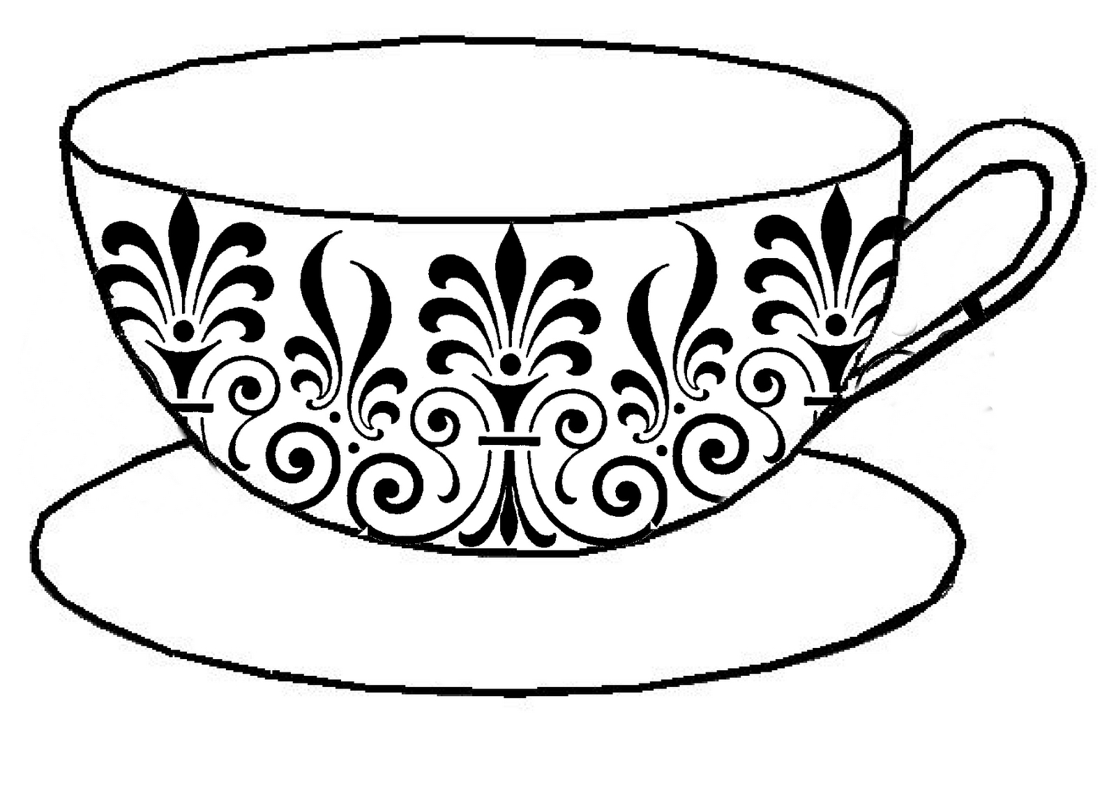 1600x1157 Drawing Of A Teacup Vintage Teacup Drawing