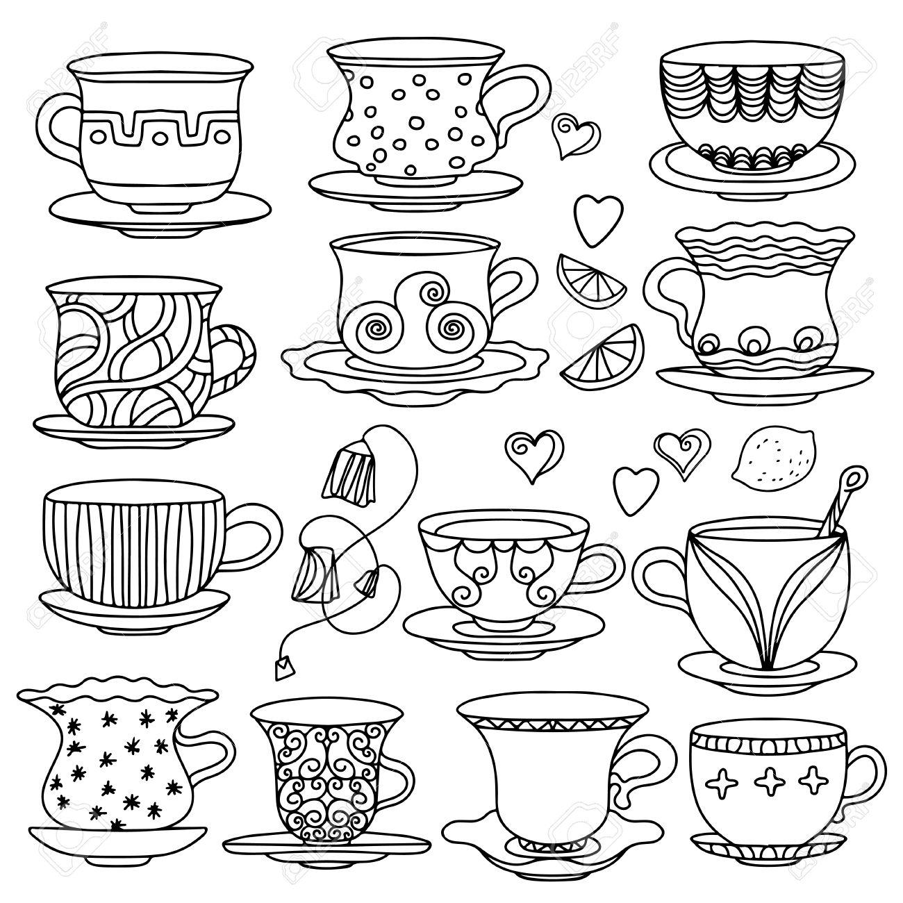 1300x1300 Set Vintage Icons Tea Cup, Lemons, Hearts, And Tea Bags
