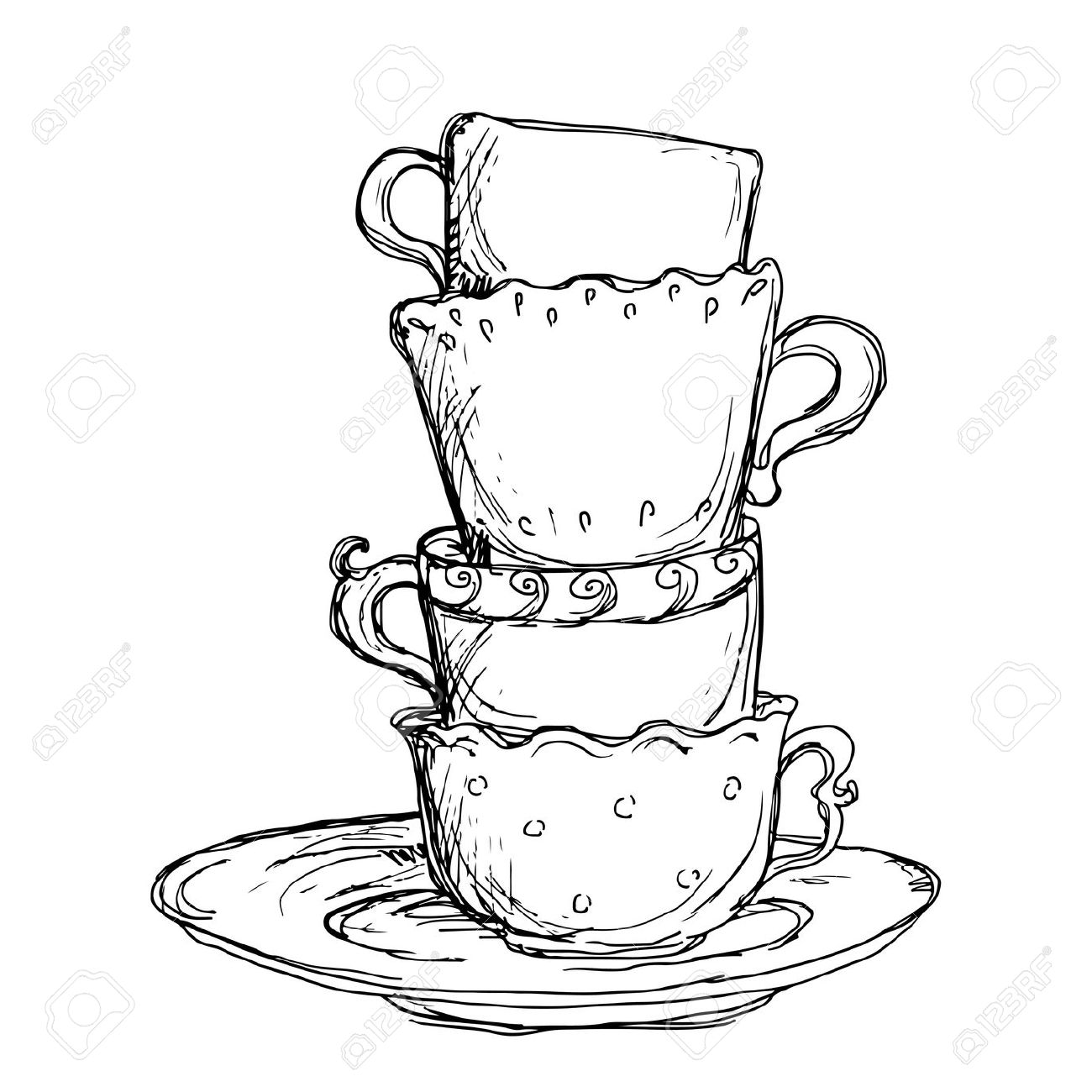 1300x1300 55 Tea Cup Sketch, Tea Set Sketch Royalty Free Stock Photos Image