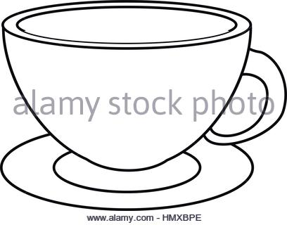 408x320 Coffee Cup. Line Drawing Vector Illustration Of A Coffee Cup Icon
