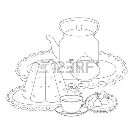450x450 Tea Party Outline Drawing For Coloring. Pudding, Tea Cup, Tea
