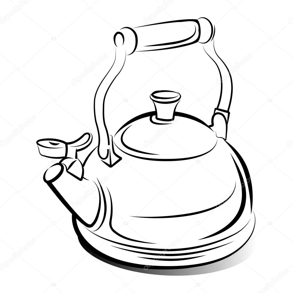 1024x1024 Drawing Of The Teapot Kettle, Vector Illustration Stock Vector