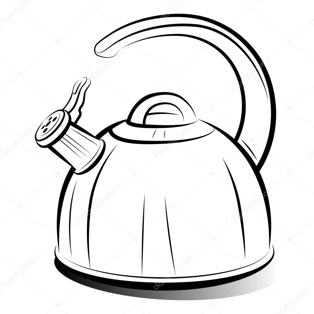 1024x1024 Drawing Teapot Kettle, Vector Illustration Stock Vector