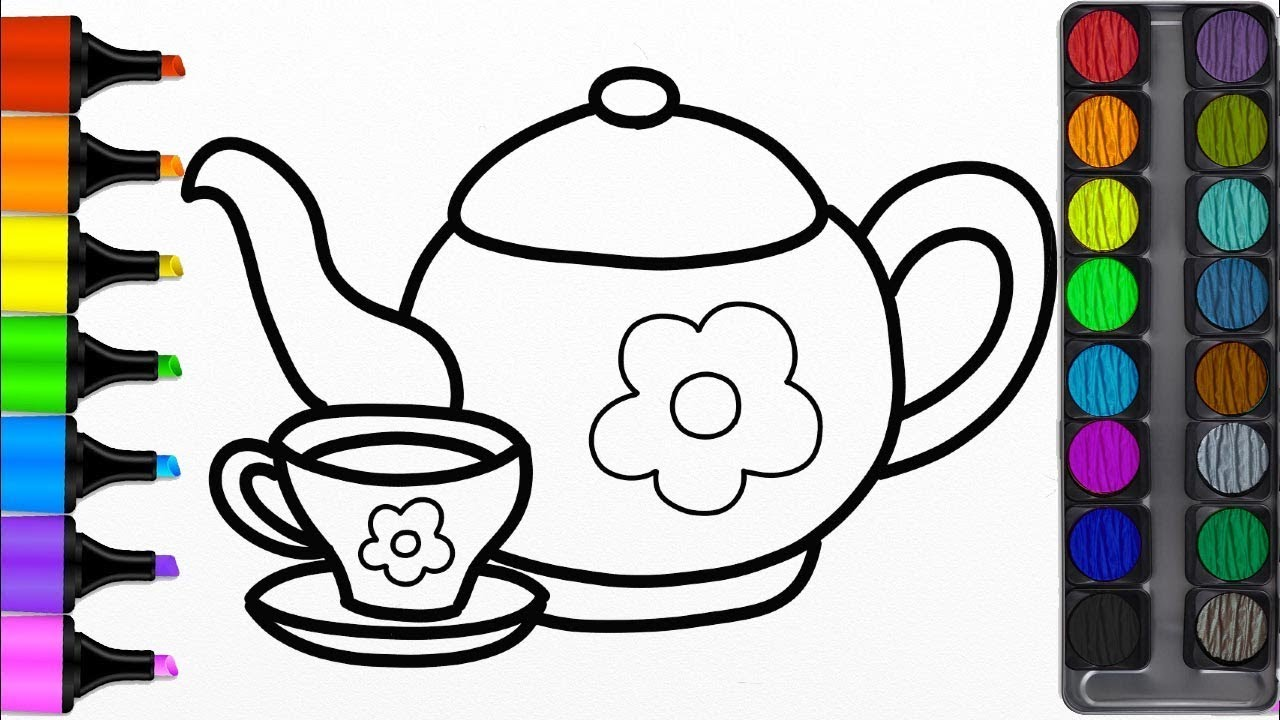 1280x720 How To Draw A Teapot For Kids Teapot Easy Draw Tutorial