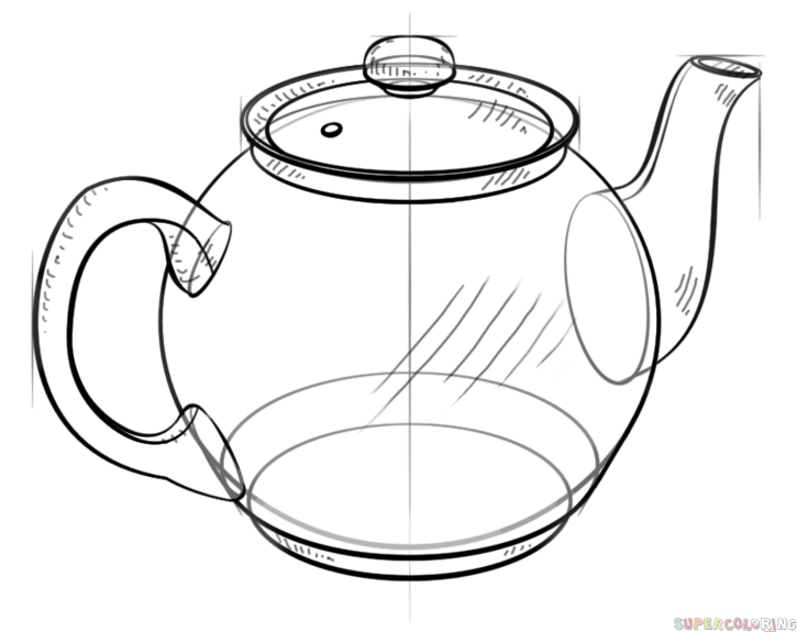 725x575 How To Draw A Teapot Step By Step Drawing Tutorials