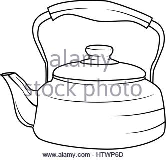 332x320 Illustration Of Isolated Kettle Cartoon Drawing. Vector Eps 8