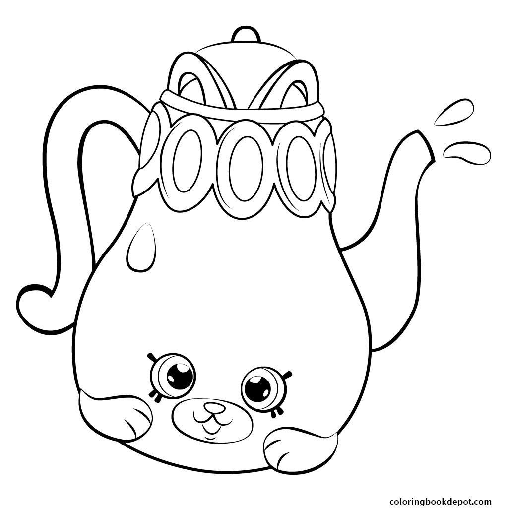 1024x1024 Petkins Coloring Page Tea Pot From Season 5 Petkins Shopkins