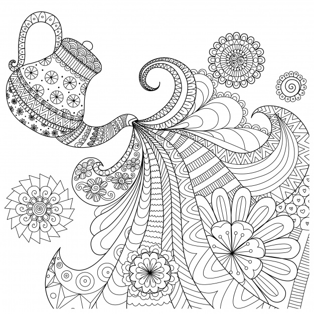 626x627 Background With Tea Pot Design Vector Free Download