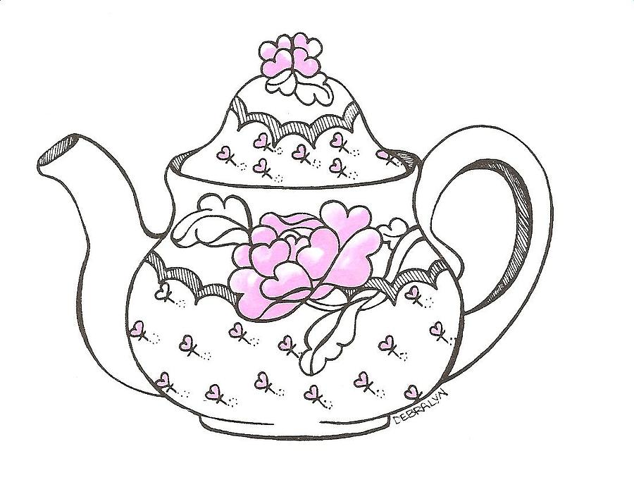 900x691 Teapot Drawing By Debralyn Skidmore