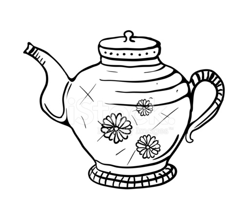 498x440 Teapot Sketch, Vector Illustration Stock Vector