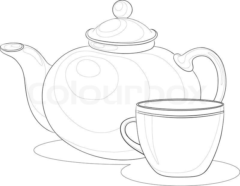 800x622 Vector, China Teapot And Cup, Monochrome Contours On White