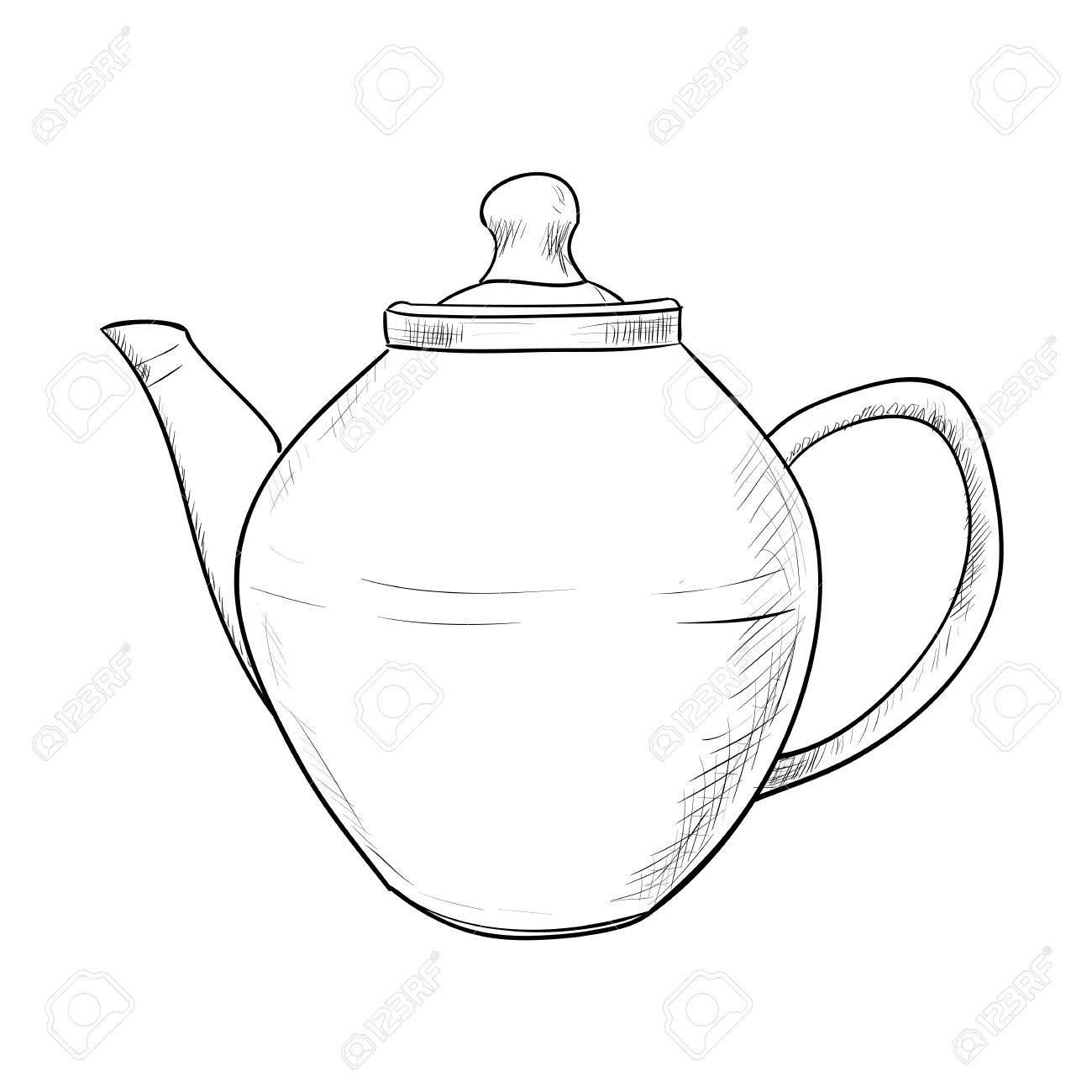 1300x1300 Vector Sketch Of Teapot. Hand Draw Illustration. Royalty Free