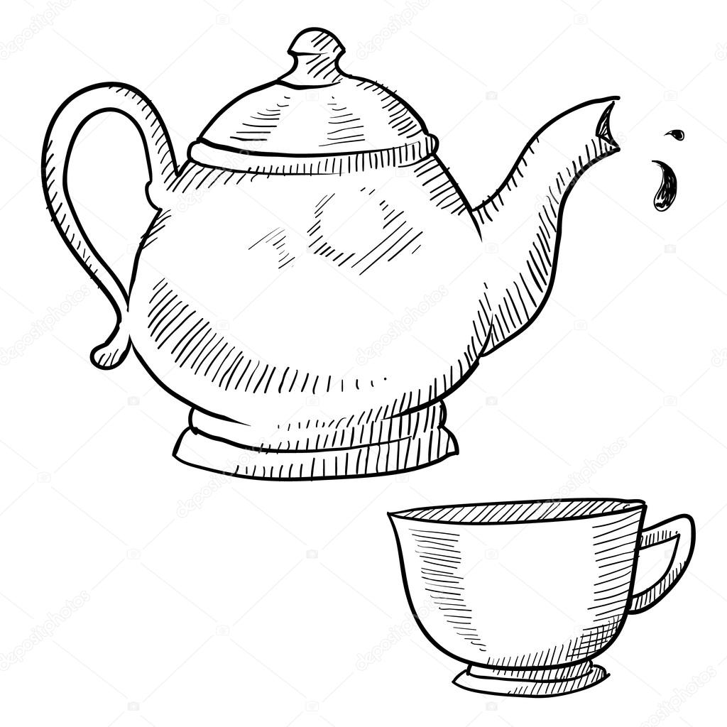 1024x1024 Coffee Or Teapot Sketch Stock Vector Lhfgraphics