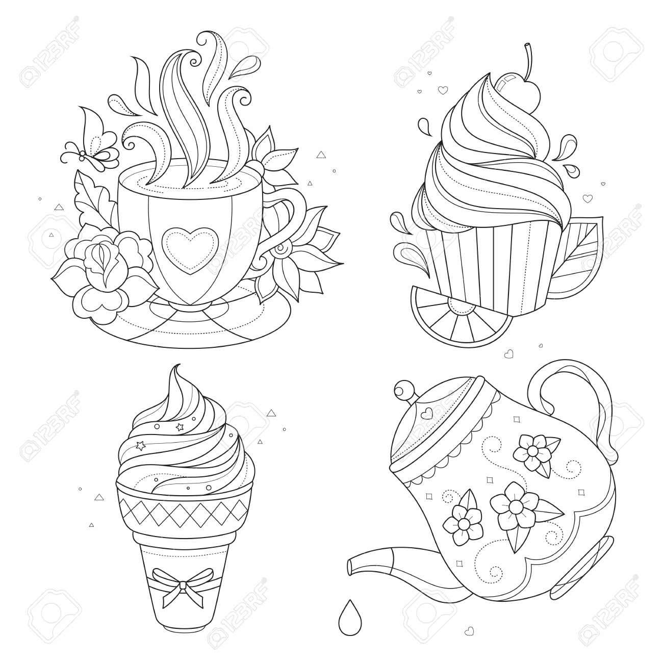 1300x1300 Coloring Page Set. Cupcake, Ice Cream, Tea Pot, Tea Cup