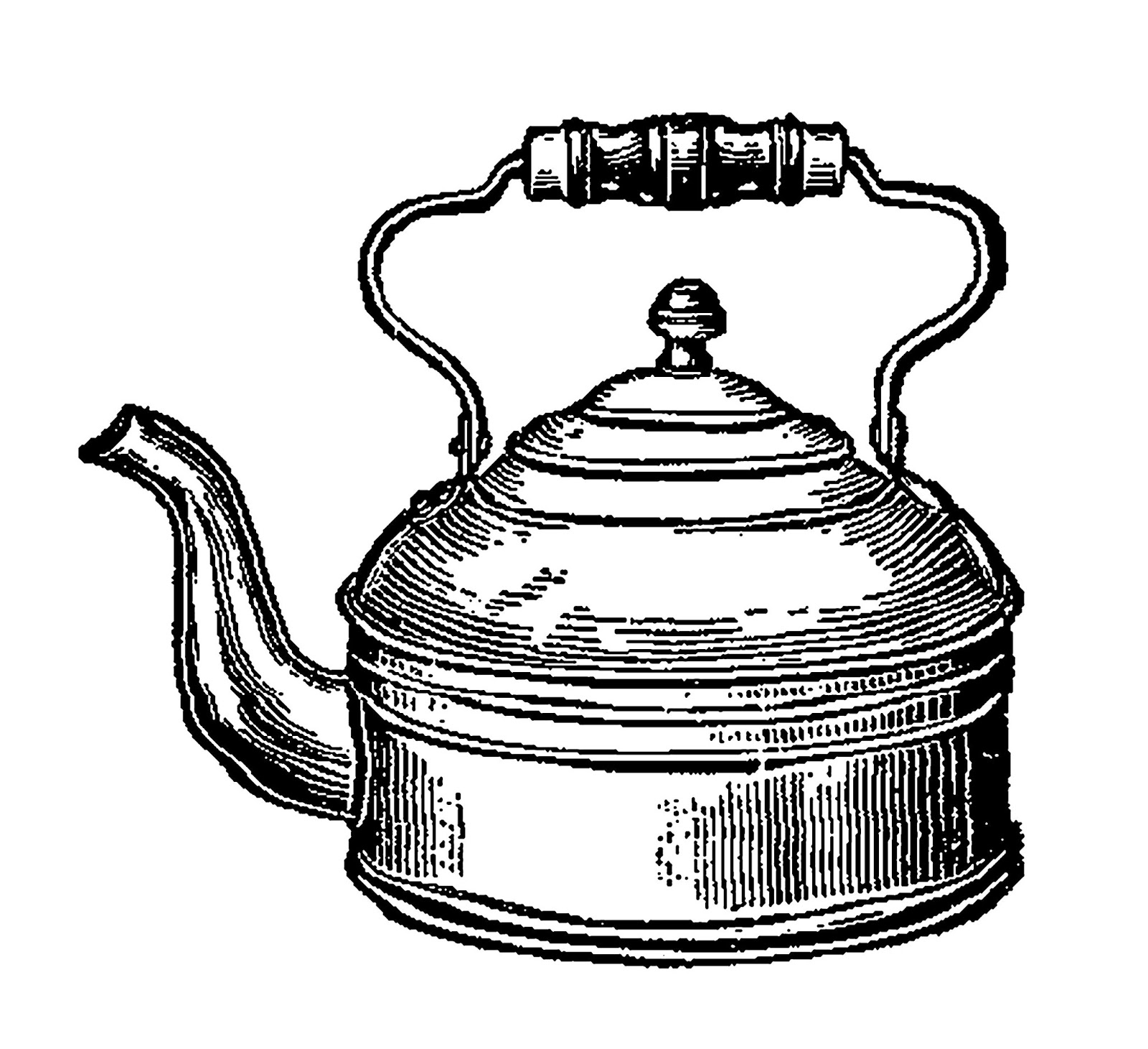 1600x1461 Digital Stamp Design Tea Kettle Image Vintage Kitchen Illustration