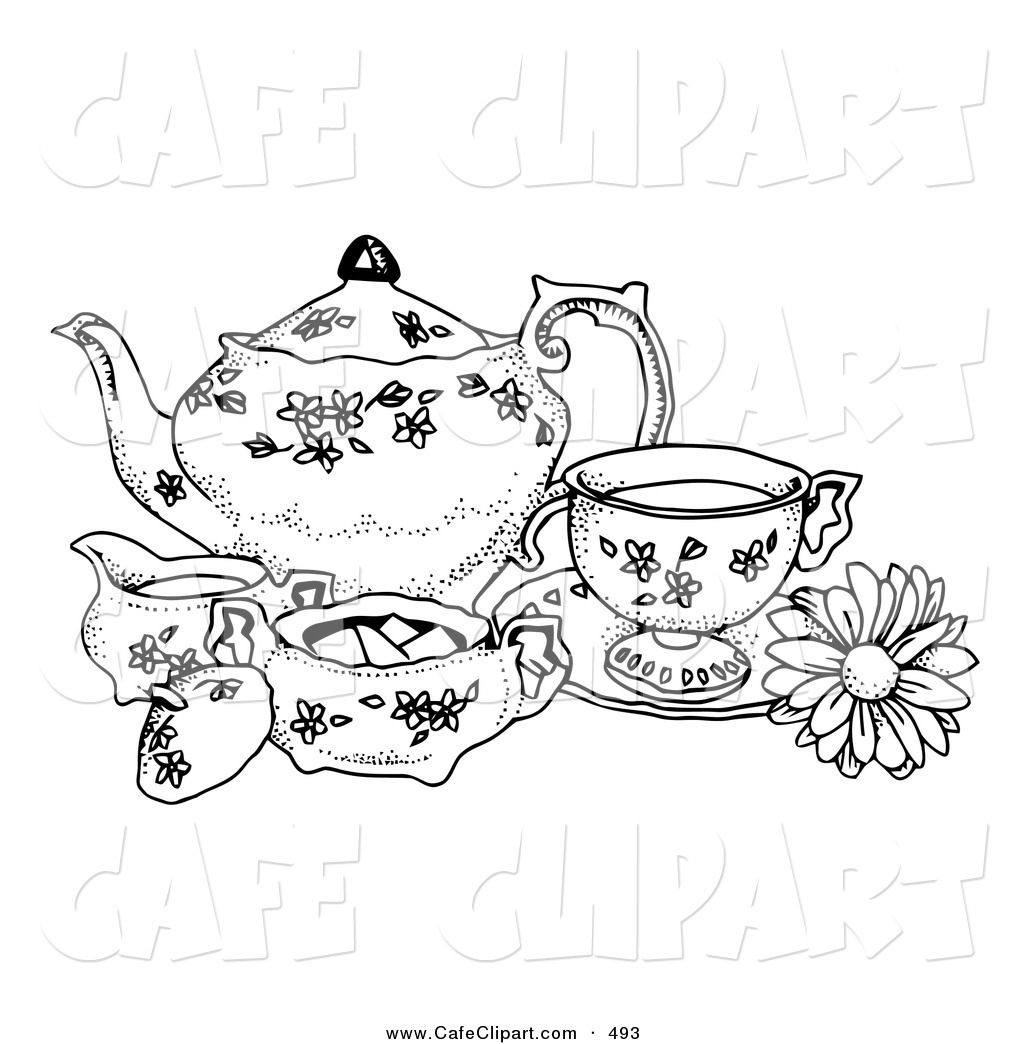 1024x1044 Vector Clip Art Of A Black And White Pen And Ink Styled Tea Set