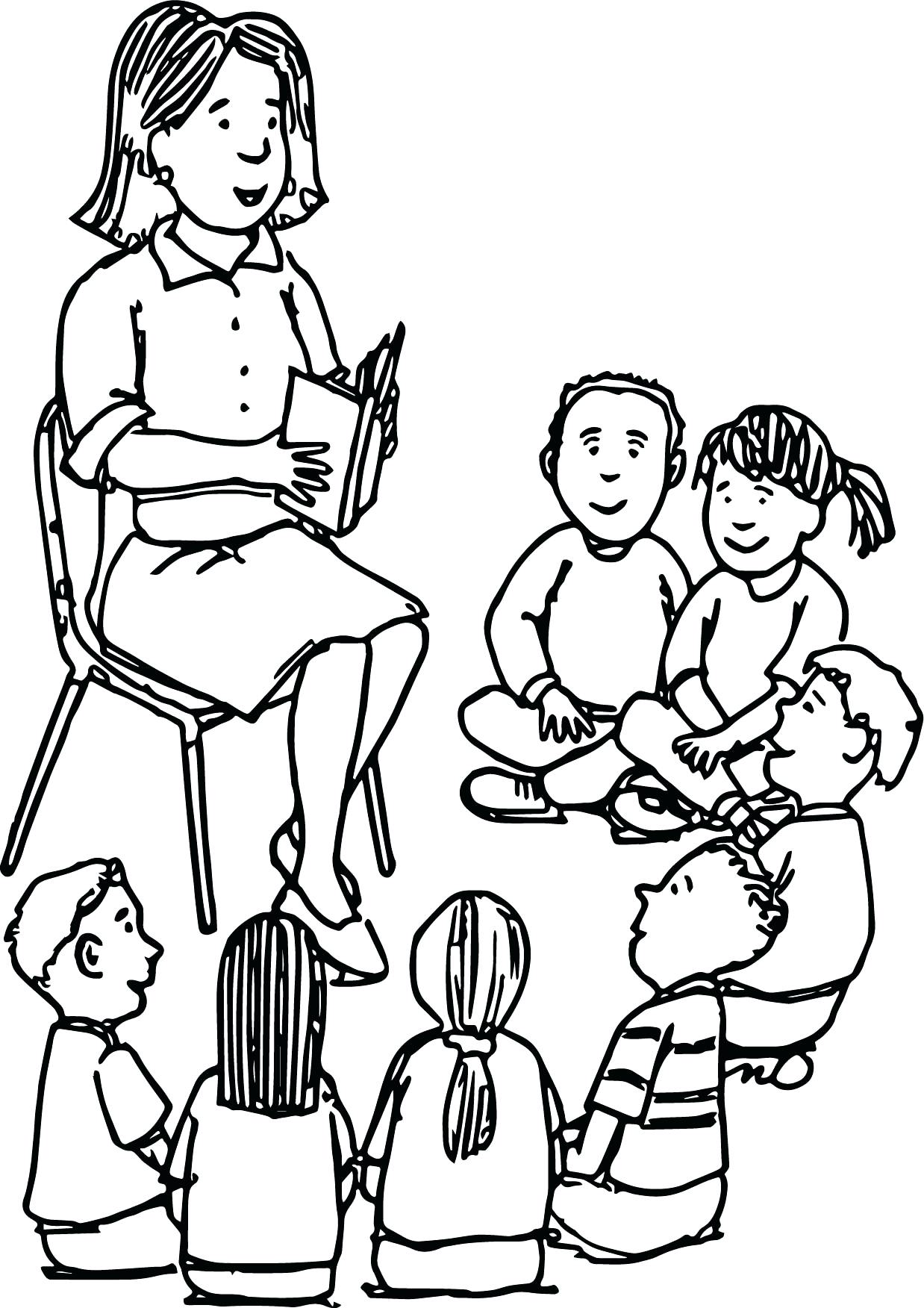 Teacher and student drawing at free for for Student coloring page