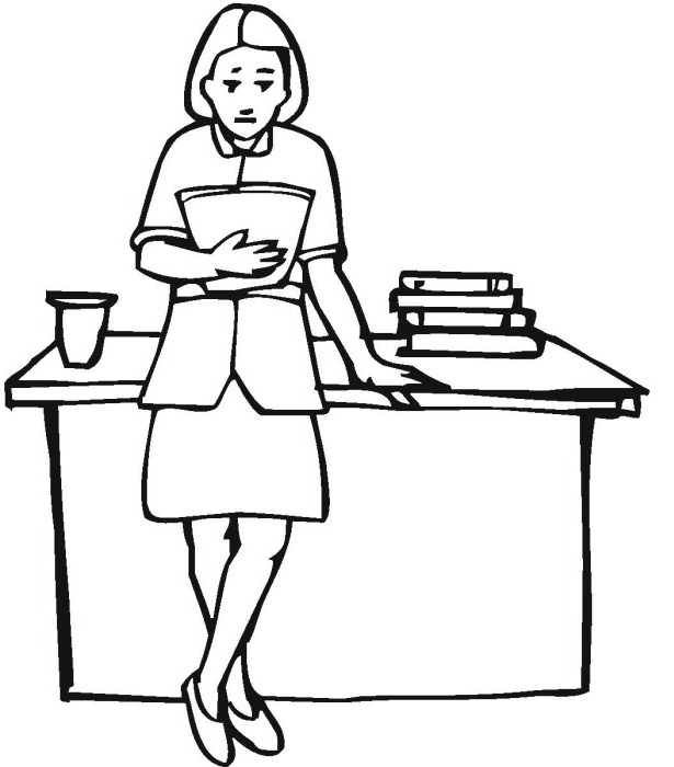 Teacher cartoon drawing at free for for Coloring pages of teachers