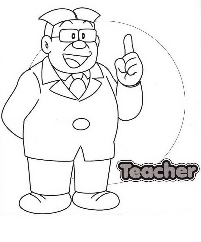640x770 Nobita's Teacher Coloring Page Boys Pages Of Kidscoloringpage