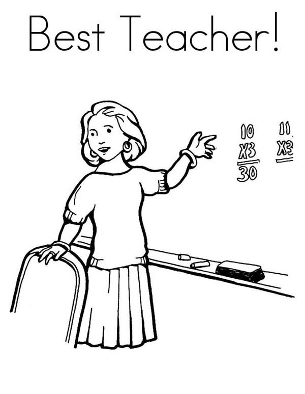 600x776 Teaching In Front Of Class In Community Helpers Coloring Page