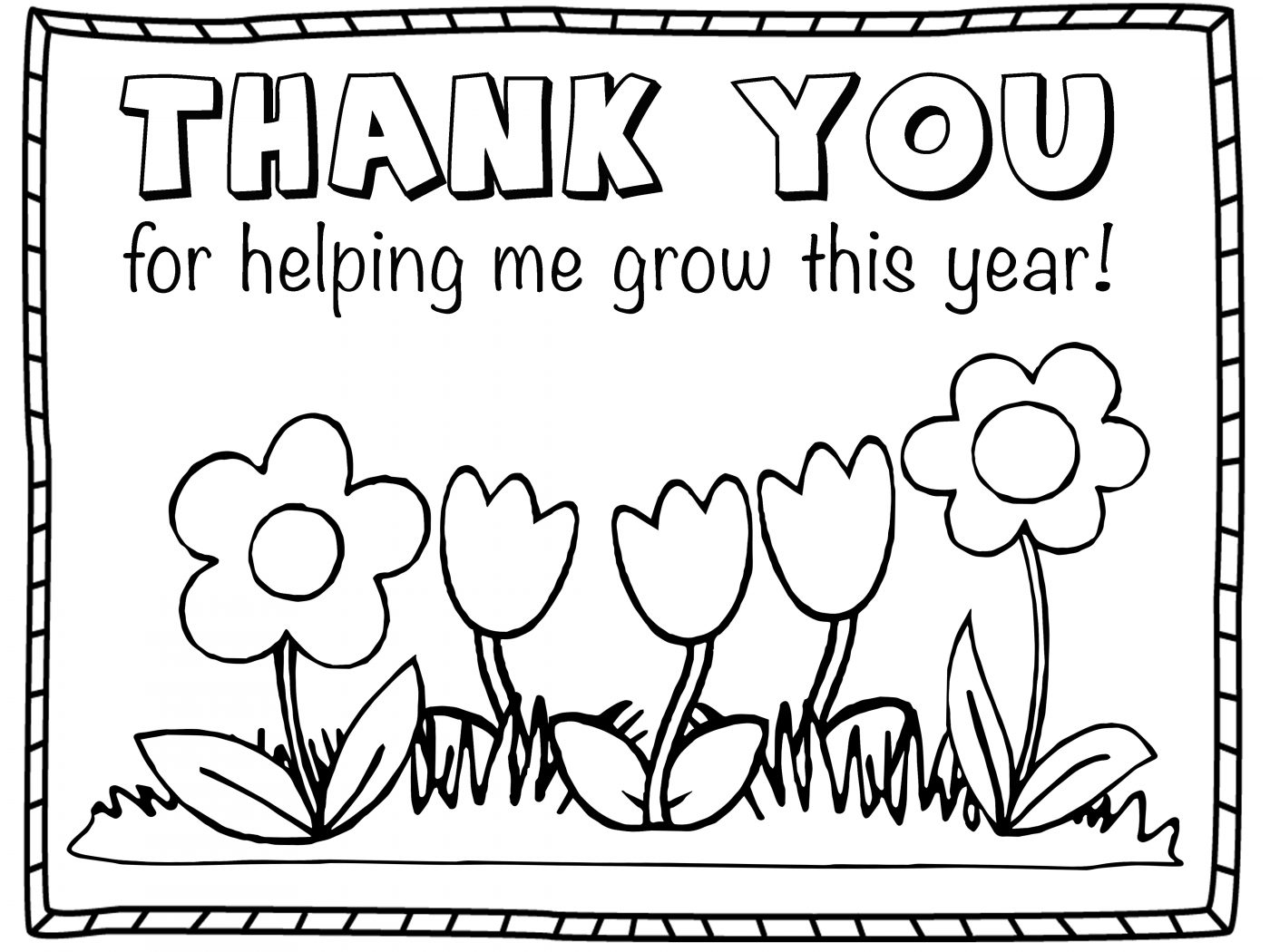 1400x1050 Gift Card Of Thank You Teacher Coloring Sheets Printable Pages