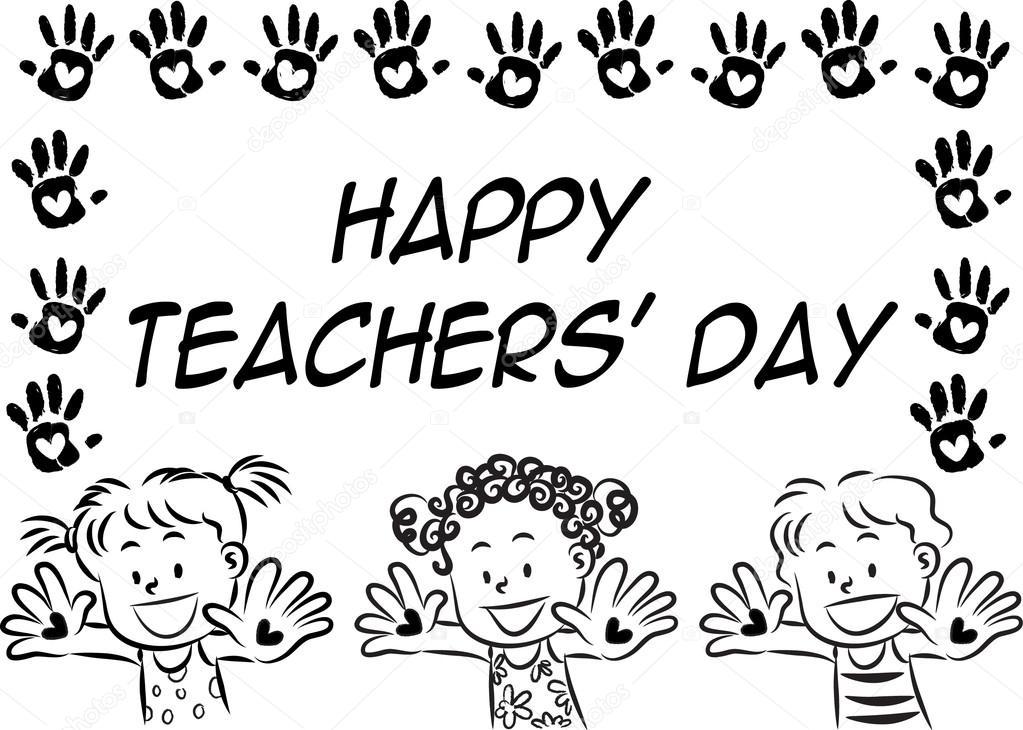 1023x730 Cartoon Drawing Happy Teachers'Day Card Stock Photo Wenpei