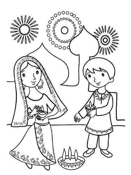 432x576 Diwali Paintings, Drawing Pictures, Scene, Diwali Sketch For Kids