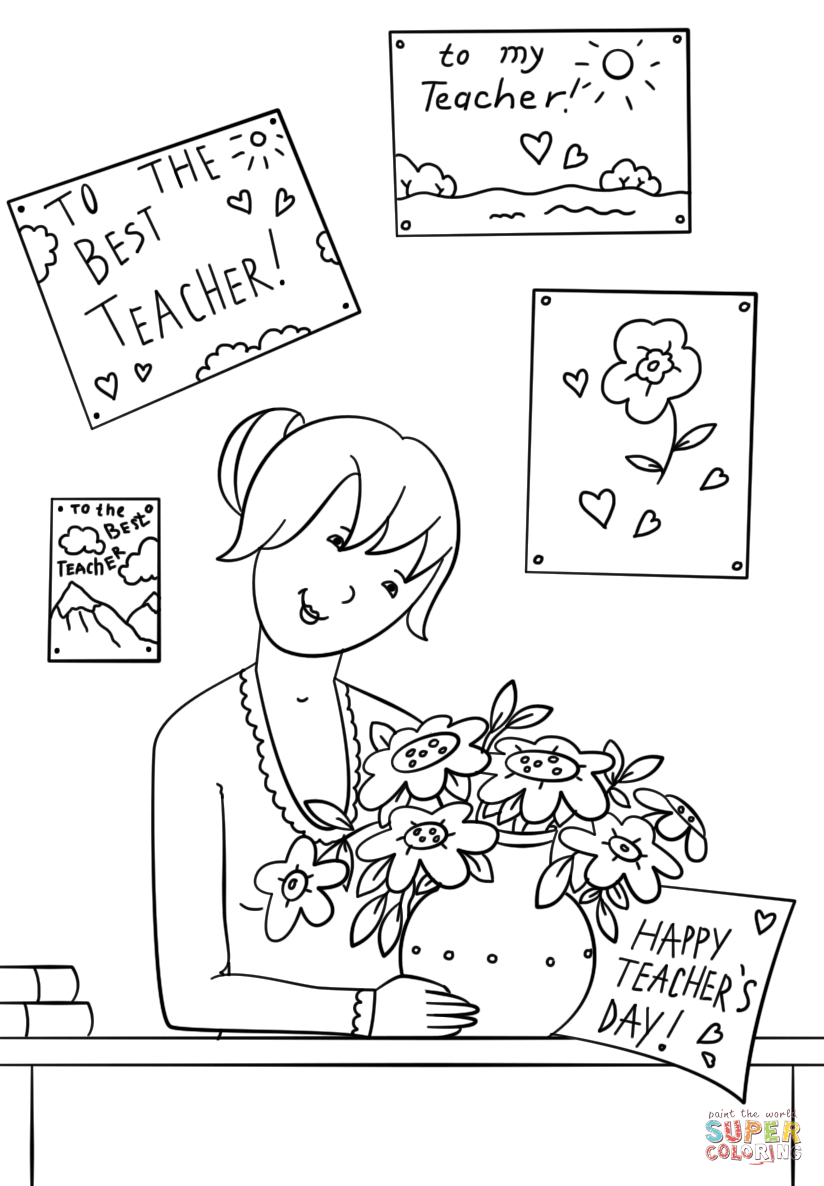 Teacher drawing images at free for for Coloring pages of teachers