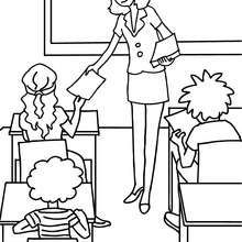 220x220 Teacher Distributing Sheets To The Pupils Coloring Pages
