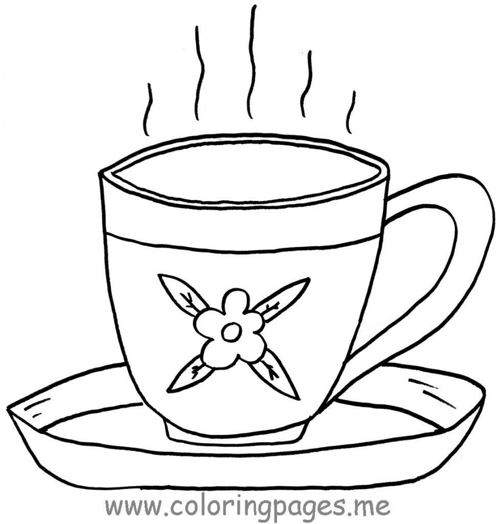 982x1024 Free Coloring S Of Teacup Tea Cup Coloring Page In Uncategorized