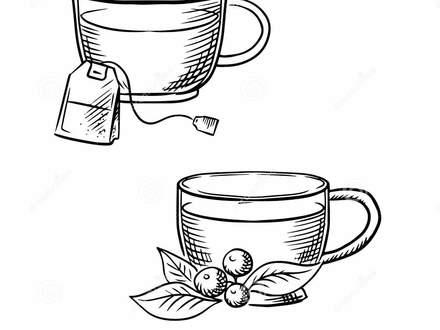 440x330 55 Tea Cup Sketch, Tea Set Sketch Royalty Free Stock Photos Image