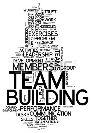 310x450 Word Cloud With Team Building Related Tags Stock Photo, Picture