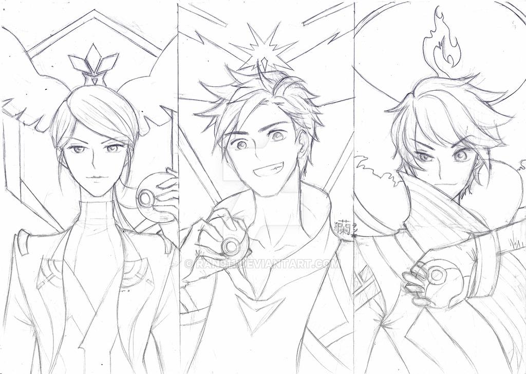 1024x729 Pokemon Go All Team Leader By Ran911