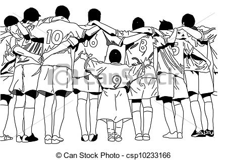 450x318 Soccer Team With Short Teammate Stock Illustration