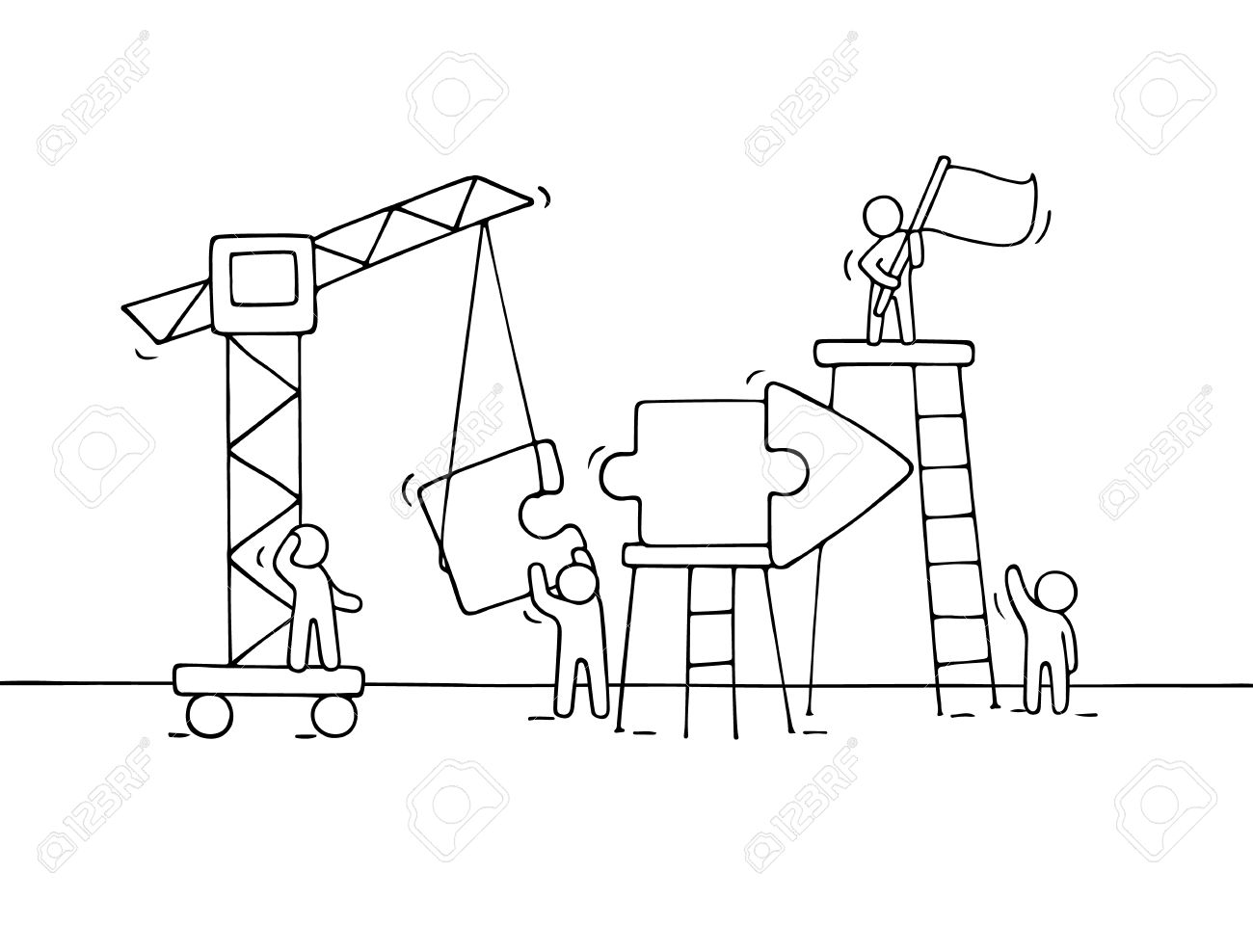 1300x988 Sketch Of Working Little People With Arrow, Teamwork. Doodle