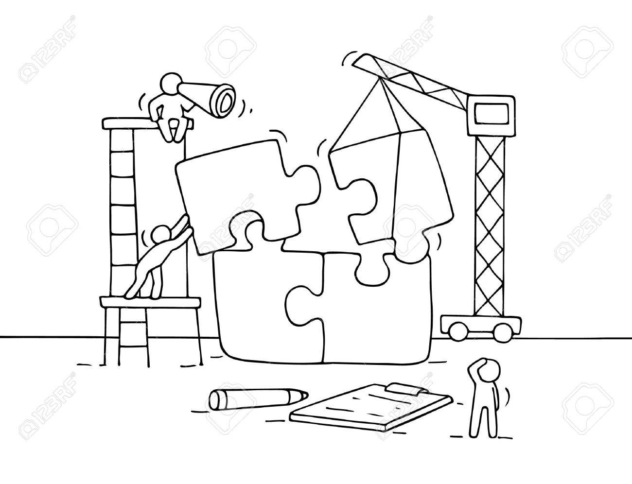 1300x996 Sketch Of Working Little People With Puzzle, Teamwork. Doodle