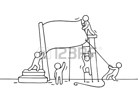 450x346 Sketch Of Working Little People With Red Flag. Doodle Cute