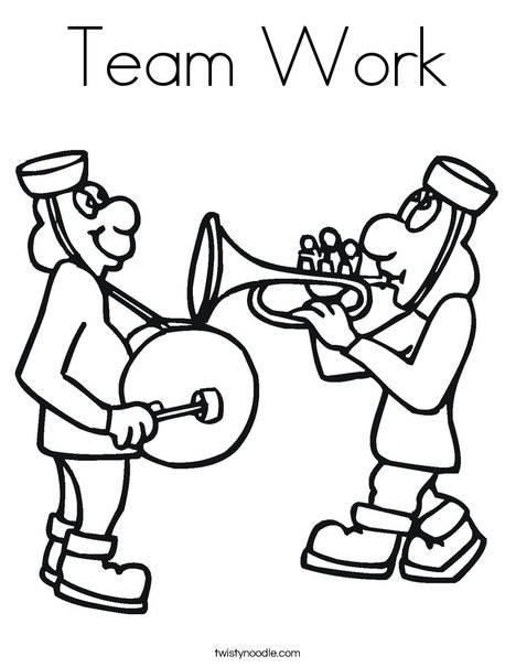 468x605 Team Work Coloring Page