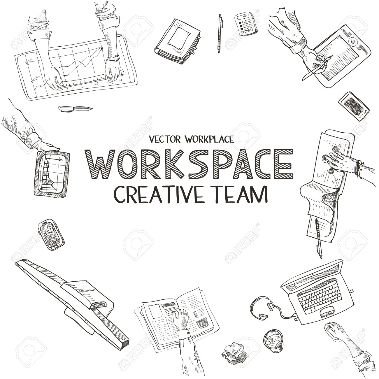 1300x1300 Teamwork, Top View People Hands Sketch Hand Drawn Doodle Office